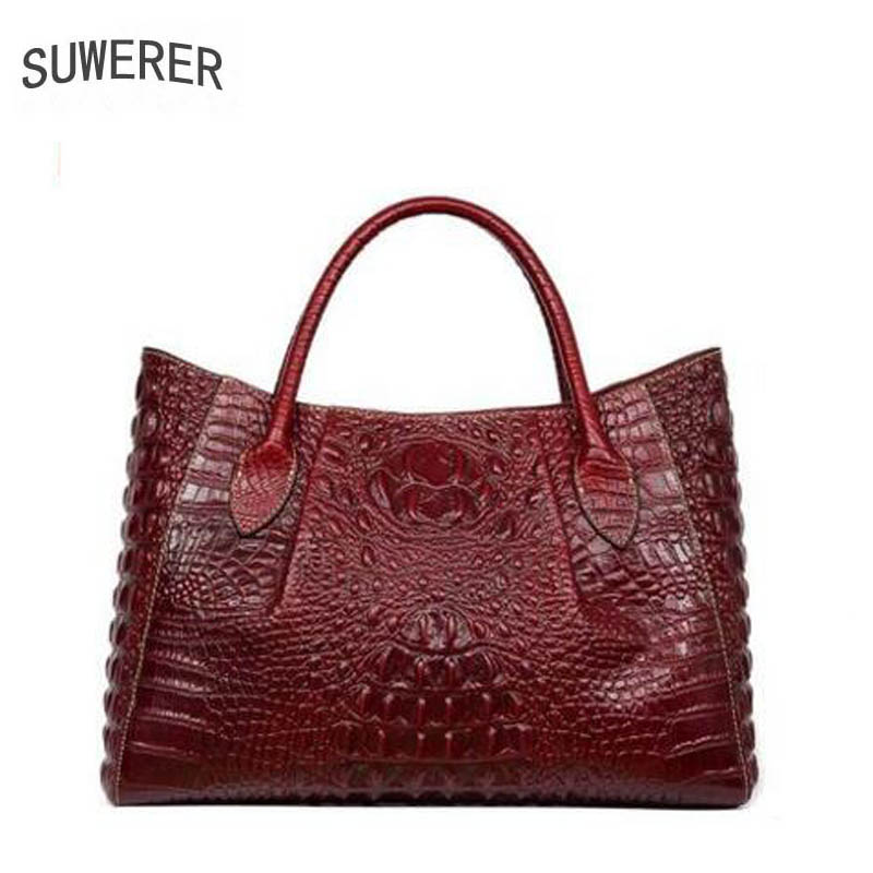 New women bag genuine leather brands high quality alligator grain cowhide embossing