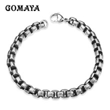 GOMAYA 316L Stainless Steel Bracelet Men Biker Bicycle Motorcycle Chain Men's Bangles Fashion Jewelry Pulseira 24 20mm 400g heavy huge 316l stainless steel silver motorcycle chain biker jewelry men s necklace fashion gift top quality