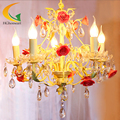-Jardim de estilo europeu de ferro forjado escada lustre de cristal da lâmpada sala de jantar levou luz Café Bar lustres