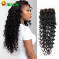 New Arrival 7a Brazillian Closures Deep Wave Brazilian Closure Sunlight Hair Company 4*4 Human Hair Closure Bleached Knots