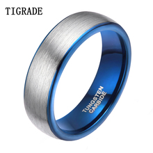 8mm Silver Blue Inlay Tungsten Carbide Ring Men Women Dome Brush Wedding Band Male Rings Bagues Homme anillo Comfort Fit   недорого