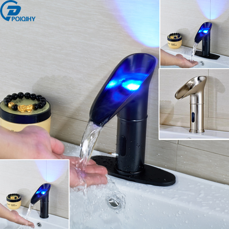 POIQIHY Free Shipping Led Light Basin Sense Faucet Water Saving Sensor Automatic Basin Faucet Hand Washing Machine Mixer Taps цены