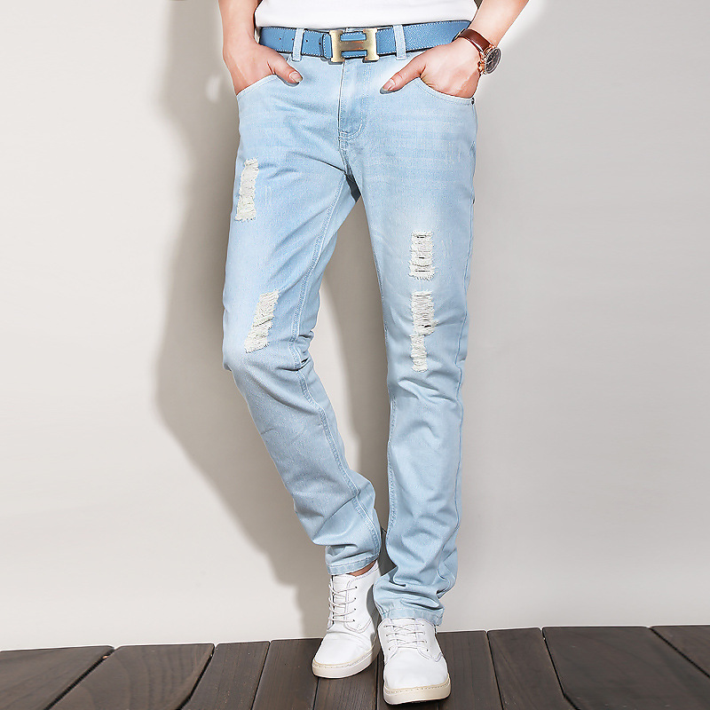 Aliexpress.com : Buy light blue ripped jeans men vintage rock boho ...