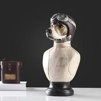 Żywica kreatywny pilot dog statua figurka rocznika wystrój domu rzemiosło dekoracji pokoju obiekty biurowe ozdoby żywiczne figurki zwierząt