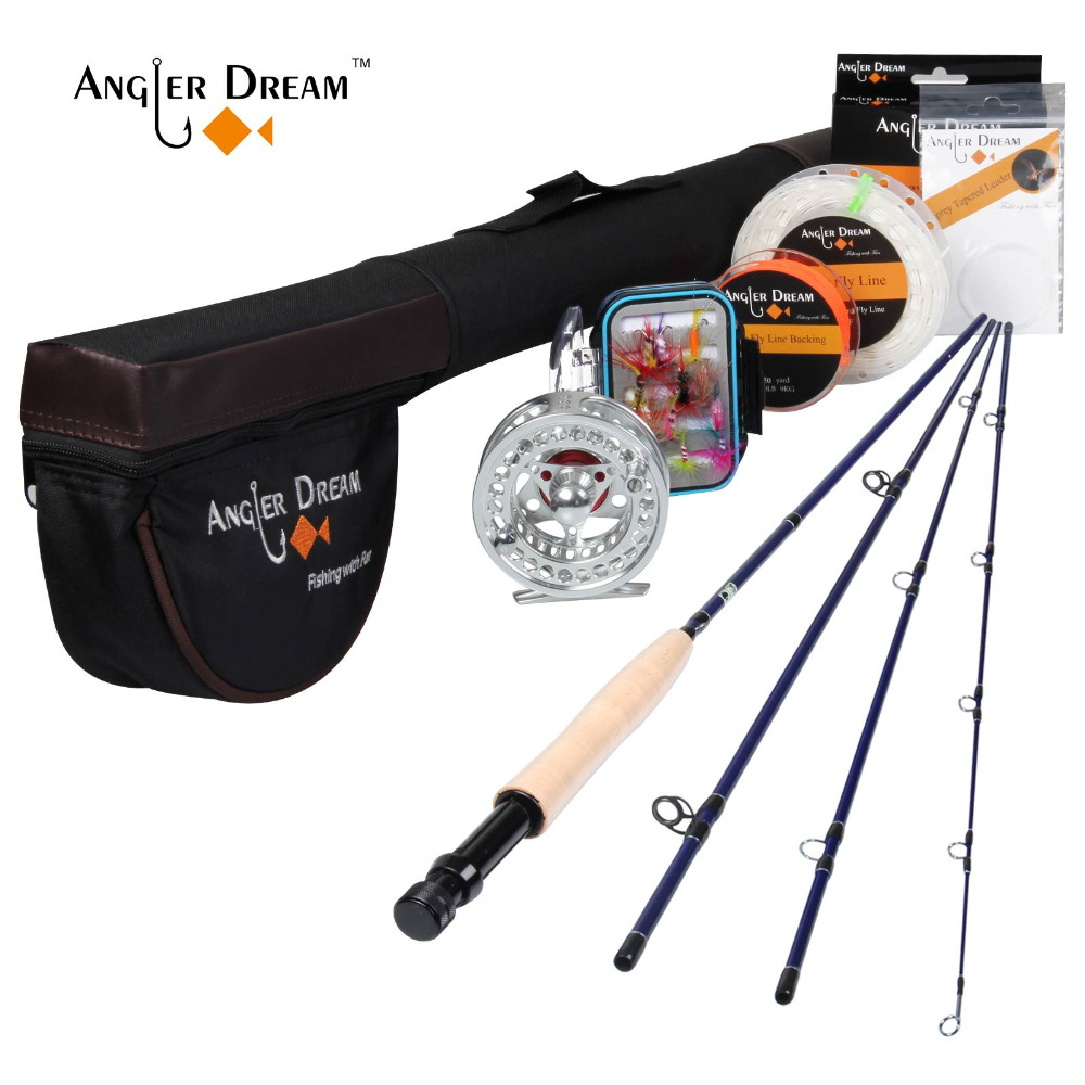 Angler Dream Fly Fishing Combo 3WT Carbon Fiber Fly Rod with Aluminum Reel Weight Forward Floating Fly Line Kit & Rod Tube
