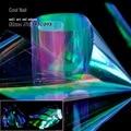 1 Roll Блестящие Лазерная Ногтей Фольга Голографическая Фольга Nail Art наклейки Бумаги Украшения Зеленый Фиолетовый Радуги Свет нарезать на куски YC461