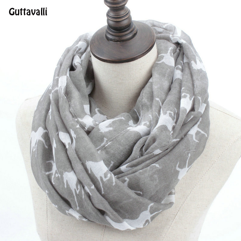 Fashion Woman Solid Horse Print Loop Shawl Women Winter Stripes Ring Scarves Female Autumn Horses Animal Infinity Scarf