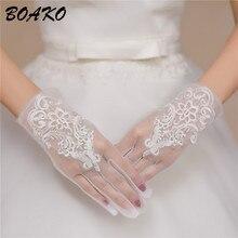 White Wedding Bridal Short Tulle Gloves Full Finger Lace Appliques Transparent Women Gloves 2019 UV-Proof Summer Accessoreis