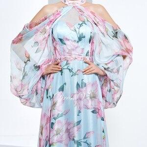 Image 4 - Dressv недорогое вечернее платье с принтом для выпускного вечера, платье трапециевидной формы с лямкой через шею и длинными рукавами, вечернее платье, элегантное женское длинное вечернее платье es