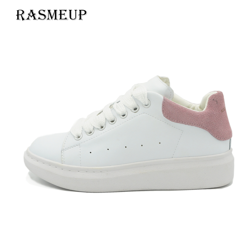RASMEUP Genuine Leather Women s Platform White Sneakers 2018 Fashion Women Design Lace Up Shoes Casual