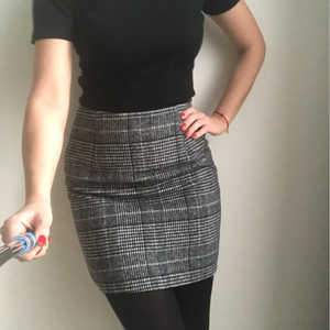 Image 5 - Haoduoyi Pencil Sexy High Waist Plaid Mini Short Skirt Casual Women Office Lady Buttoms Zipper Back Hot Sell The New Listing