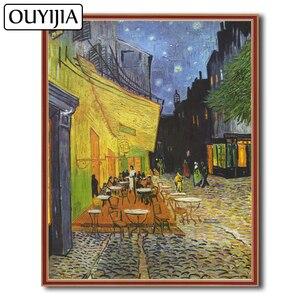 OUYIJIA кафе терраса ночью Ван Гог масло 5D DIY алмазная живопись вышивка украшение подарок Мозаика горный хрусталь Вышивка крестом искусство