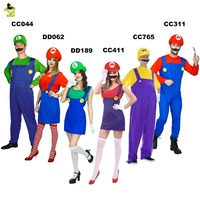 Halloween Costumes Men Women Super Mario Luigi Brothers Plumber Costume Jumpsuit Fancy Cosplay Clothing For Adult