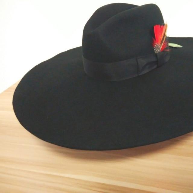 16cm Wide Brim Fedora Hats for women 100% Pure Black Australian Wool Felt  Fedoras Stiff Brim ae2855ea67f