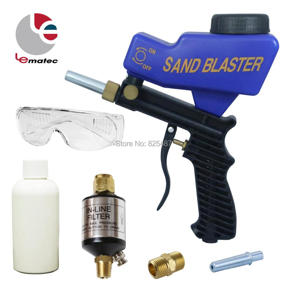 LEMATEC Sandblaster Gun Kits With Glasses Sand Canned Air Water Separator Filter For Remove Paint Rust