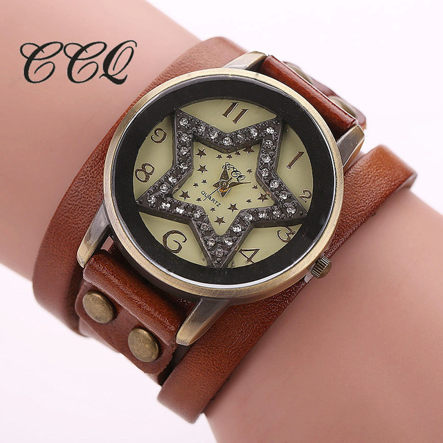 CCQ Vintage Cow Leather Star Bracelet Watch Antique Women Rhinestone Wrist Watch