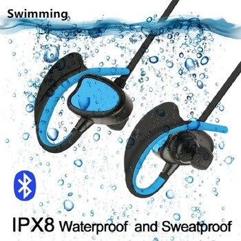 Ipx8 Auricolari Bluetooth Impermeabile per il Nuoto Cuffia Senza Fili Stereo con Microfono Bass Sport Correre Auricolare per il Telefono