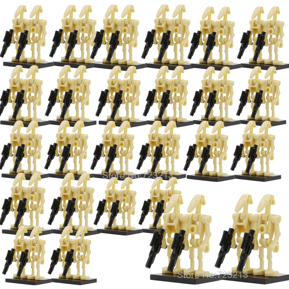 100pcs Wholesale Space Wars Battle Droid Army Figure Model Set Building Blocks kits Brick Education Starwars Toys for Children