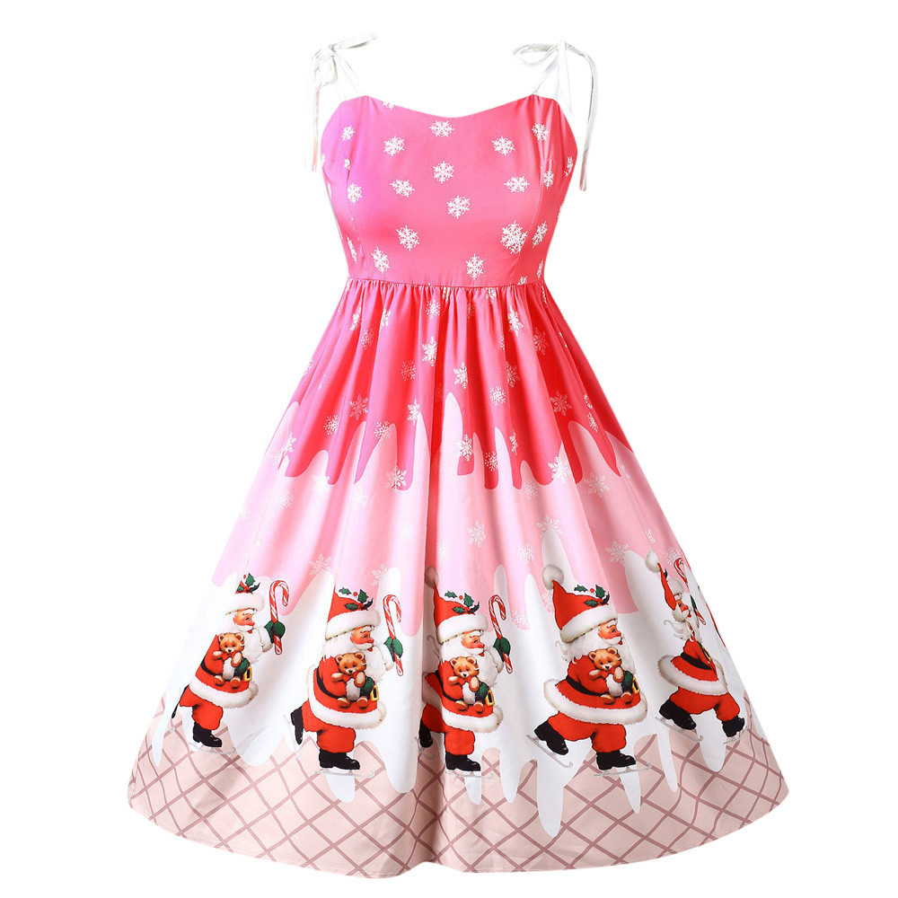 Christmas Party Club Dresses Women Sleeveless Best Selling Lace Patchwork Printing Vintage Gown Party Dress Vestidos