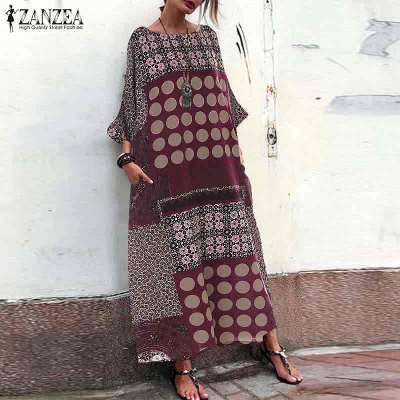 Zanzea 2019 verão estilo vintage impresso vestido longo maxi vestidos de verão robe femme boêmio algodão linho vestido oversize