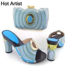 Горячая Исполнитель Итальянские летние женские Золотистые туфли и сумка в комплекте в африканском стиле модные тапочки обувь на высоком каблуке и сумка в комплекте для вечеринки TX-221