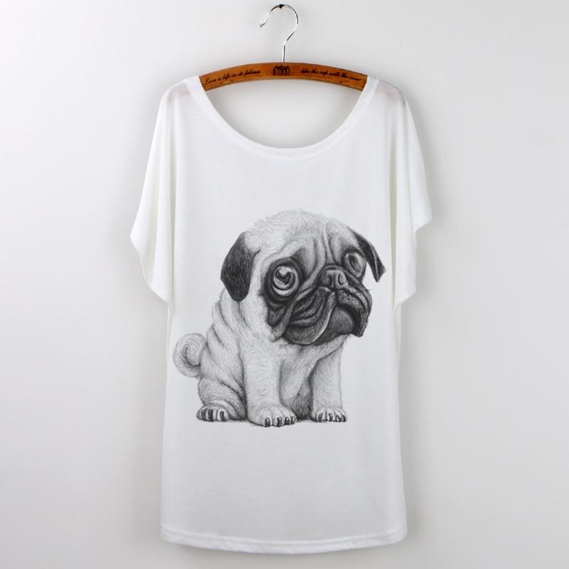 Zomer T-shirt Vrouwen Mooie Grappige Pug Losse Batwing Mouwen Print - Dameskleding - Foto 5