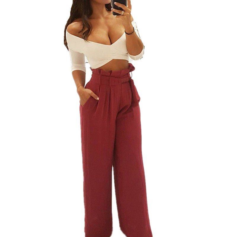Ladies Bowknot belt Pleated Palazzo   Pants   Women Bottoms Fashion Women Casual   Pants   Burgundy Mid Waist   Wide     Leg     Pants   trousers