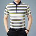 2016 New fashion style men stripe color combination summer polo shirt