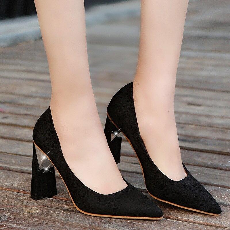 Con Otoño La Y Tacones Solo rojo Boca Gamuza Sexy Primavera Altos Beige Mujer Nueva negro Zapatos Gruesa Señaló Baja 2019 De EOWfqnx