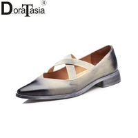 DoraTasia 2018 Genuine Leather Large Size 33-41 Cow Leather Women Shoes Woman Chunky Mid Heels Black Office Lady Pumps