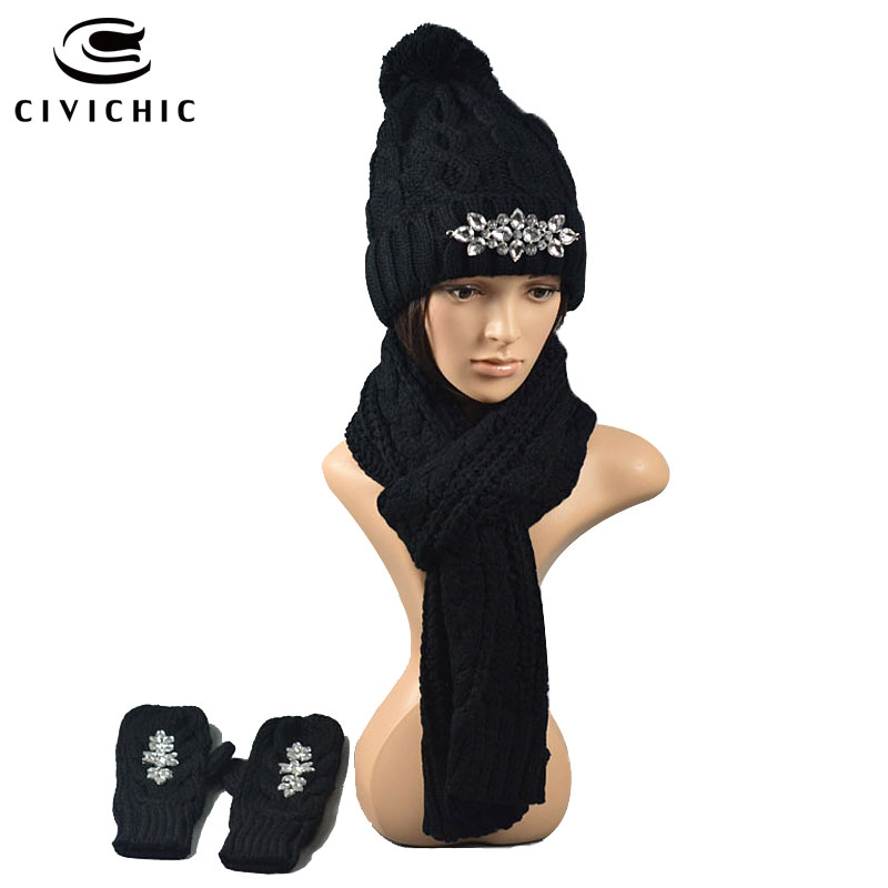 CIVICHIC High Quality Winter Knit Hat Glove Scarf 3 Pieces Set Woman Thicken Crochet Cap Pompon Headwear Gloves Warm Shawl SH110