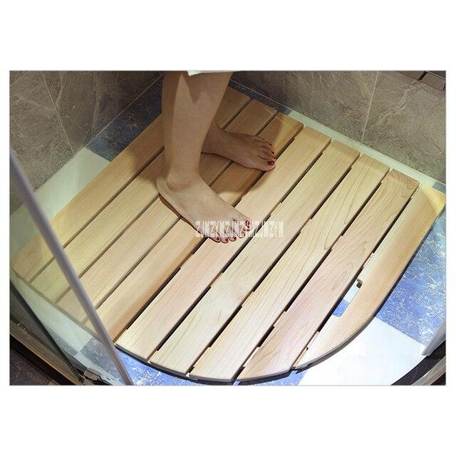 010 Tapis De Sol Antiderapant En Bambou Resistant Aux Moisissures Salle Bain A Rayures Bois Douche Massif