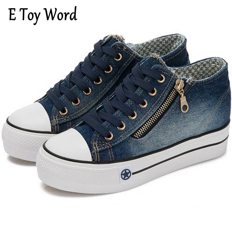 E TOY WORD Canvas Shoes Women han edition 2017 Spring Cowboy increased Thick Soles Casual Shoes Female Side zip Jeans Blue 35-40 segal business writing using word processing ibm wordstar edition pr only