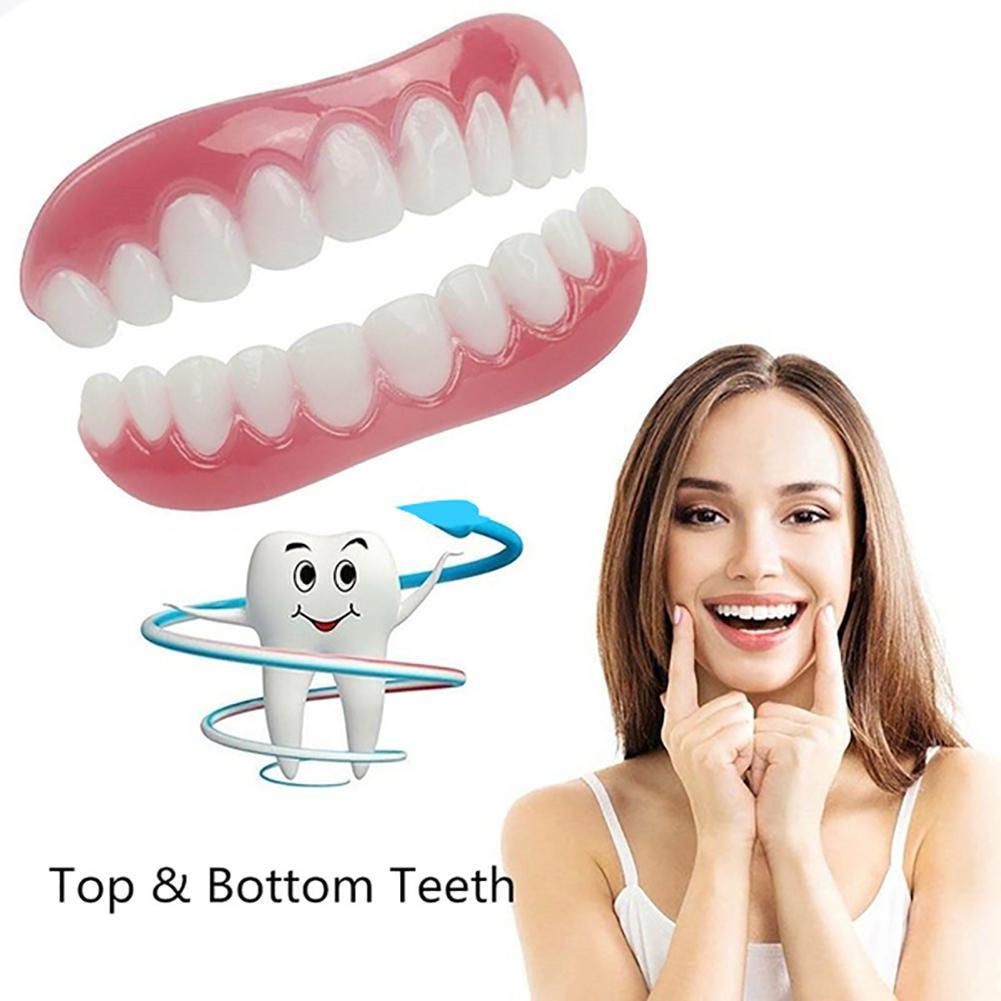 2Pc Teeth Veneers Cosmetic Teeth Snap On Secure Upper Lower Flex Dental Veneers Denture Care Beauty & Health 2Pc Teeth Veneers Cosmetic Teeth Snap On Secure Upper Lower Flex Dental Veneers Denture Care Beauty & Health