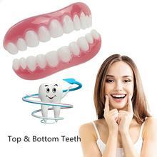 2Pc Teeth Veneers Cosmetic Teeth Snap On Secure Upper Lower Flex Dental Veneers Denture Ca