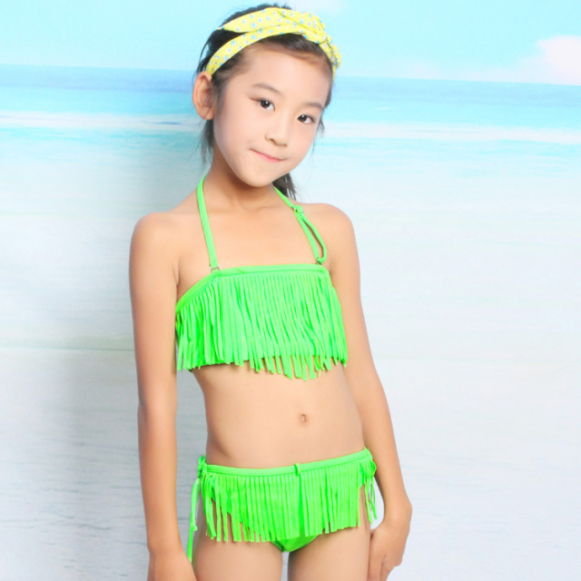 a55cb4bf1d 2015 Korean children tassel design bikini swimsuit girls princess children  in child swimsuit baby girl