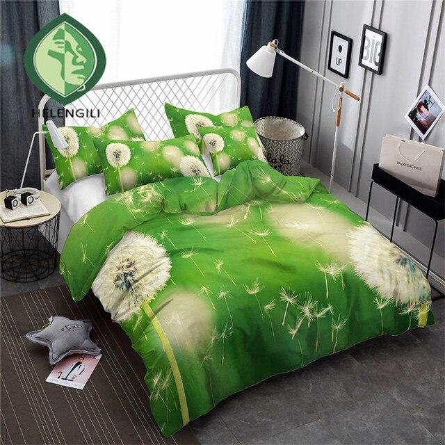 HELENGILI 3D Bedding Set Dandelion Print Duvet cover set bedclothes with pillowcase bed set home Textiles #XH-24