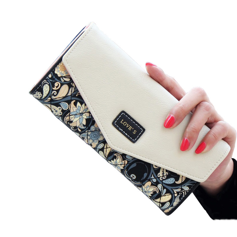 2018 Wallet Women PU Leather Fashion Female Trifold Flowers Printing Women Wallets Long Co