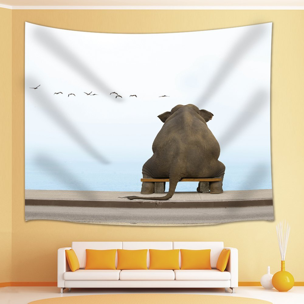 Home Decor Cute Elephant sit on the Chair see the Birds in the Sky Tapestry Wall Art Hanging for Bedroom Living Room Dorm