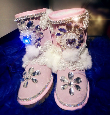 Lourie handmade rhinestone colorful gem feather ostrich skin genuine leather snow boots