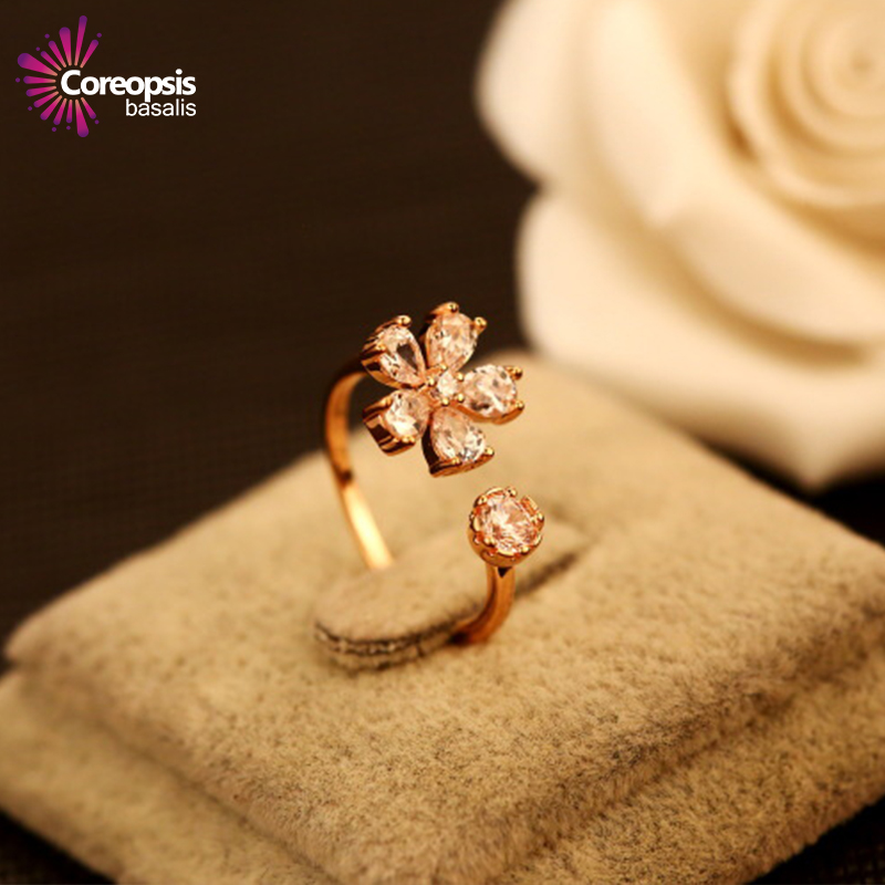 super beautiful Luxury multilayer rose gold ring hollow simple