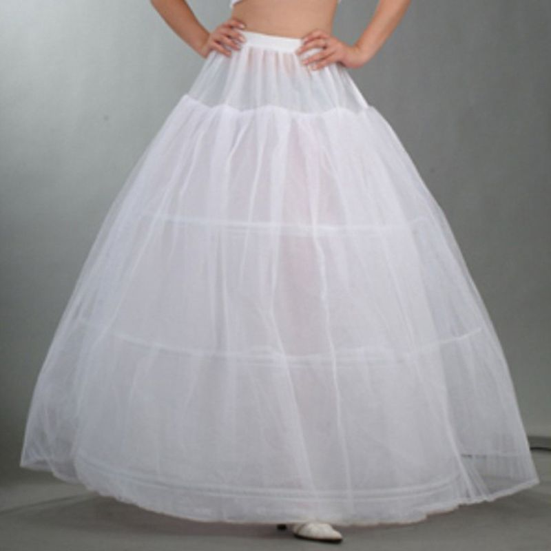 Womens Bridal 3 Hoops Maxi-Length Petticoat Drawstring Waistband Multi-Layer Ball Gown Wedding Dress Bustle Crinoline Underskirt