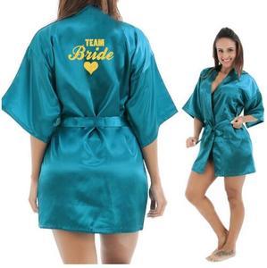 Image 4 - Kimono Robe Faux Silk Women Wedding Preparewear Bride Team Heart Golden Glitter Print Robes Bachelorette Pajamas Free Shipping