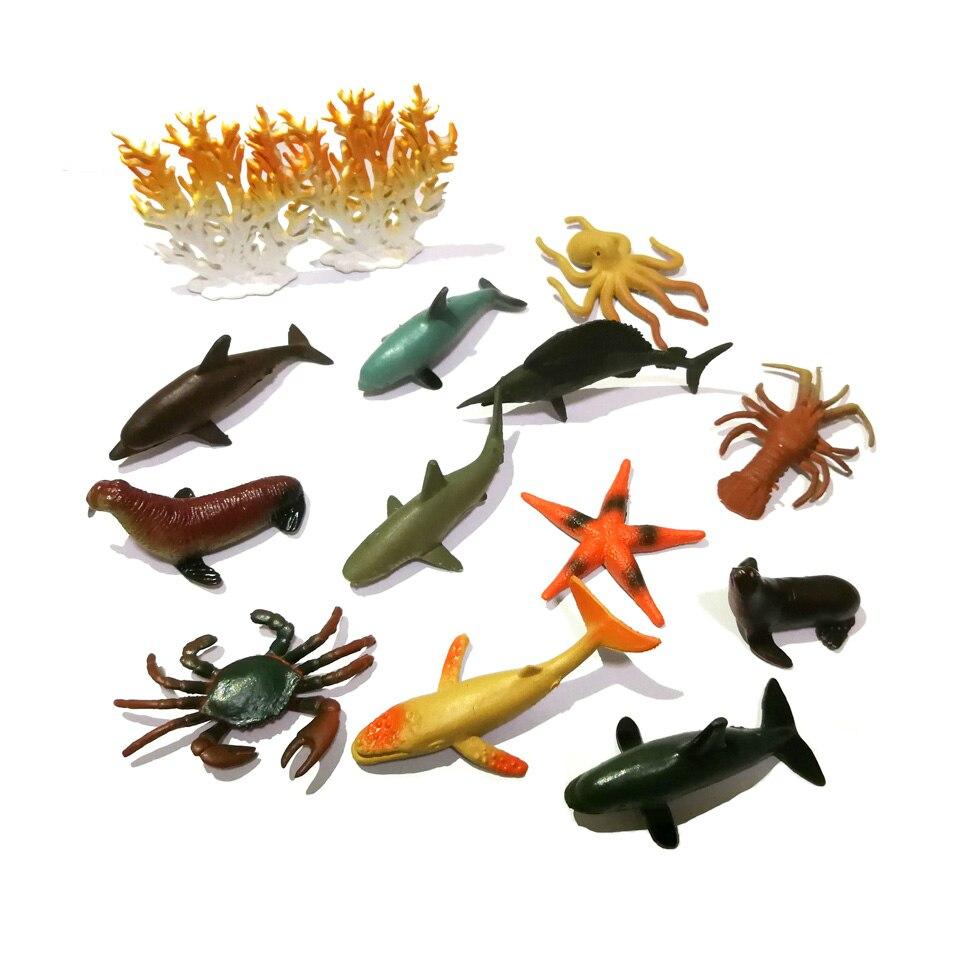 WITHYOU 12pcs/set Plastic Mini Dinosaur Toy Model Ocean Sea Animal Action Figures 27