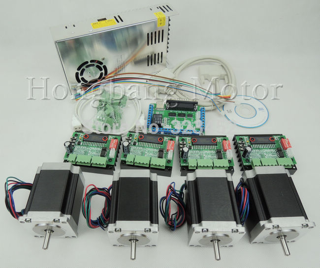 Free shipping CNC Router 4 Axis Kit , TB6560 3.5A stepper motor driver + interface board + Nema23 270 Oz-in motor + power supply free shipping high quality 4 axis tb6560 cnc stepper motor driver controller board 12 36v 1 5 3a mach3 cnc 12