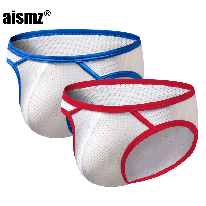 Aismz 2Pcs/lot men underwear briefs sexy gay mens brief ropa interior hombre hollow mesh pouch underwear cueca masculina  bikini(China)
