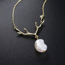 Delicate Baroque Pearl Pendant Necklace For Women Creative antlers Jewelry Necklace Clothes Accessories Girl's favorite gifts вытяжка kuppersberg f 960