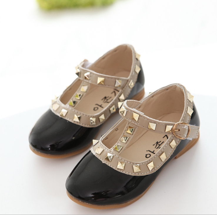 New Fashion Children Lady Girls Princess Shoes PU Leather toddler baby Low-heel Kids mary jean Shoes Rivets Sneakers 5