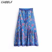 Spring New European Peacock Print Women Bohemian Vintage Blue Skirt Ladies Pleated Skirt DFJ8016