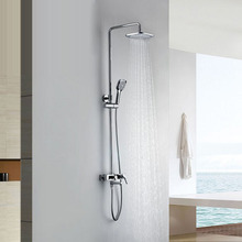Wall Mounted Chrome Rainfall Brass Bathroom Shower Set Shower Column Bath Shower Set with ABS Handheld Square Shower Head golden rainfall shower faucets set brass wall mounted shower with hand shower mixer for bathroom